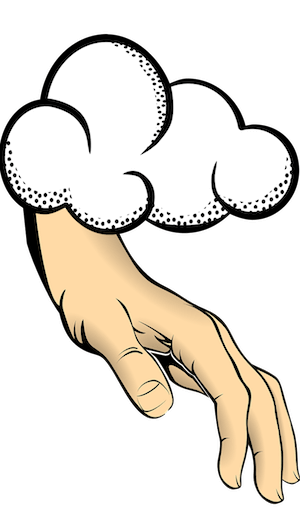 A hand reaching out of a cloud